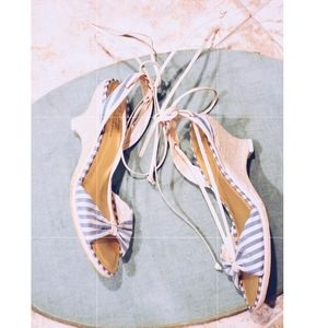 Blue and White Stripes Wrap Up Espadrille Wedges